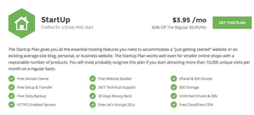 SiteGround StartUp Plan Features