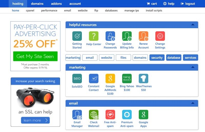 Bluehost Home and Cpanel