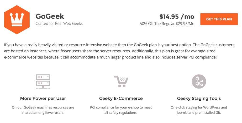 SiteGround GoGeek Plan Features