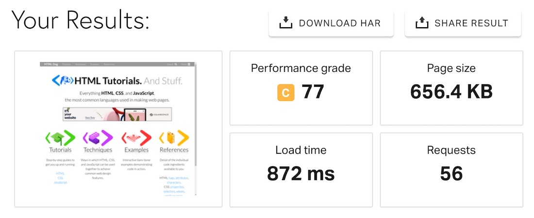 Speed test of SiteGround hosted website