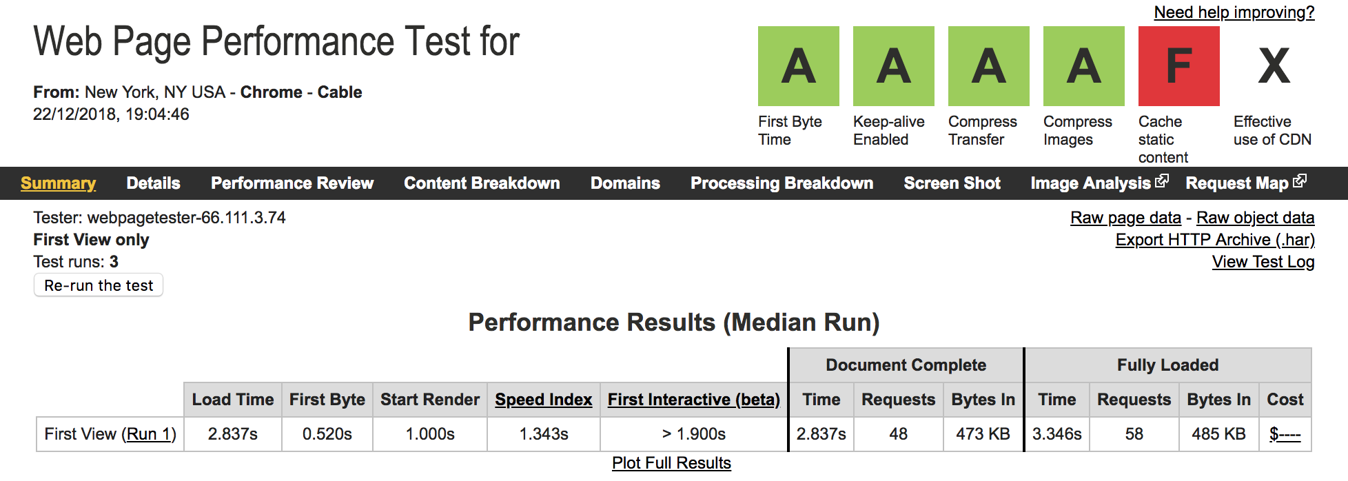 SiteGround Speed Test on WebPageTest