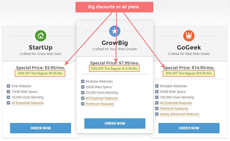 Big Discounts on SiteGround Plans