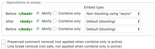 Enable JS Minify Settings: Eliminate render-blocking Javascript and CSS