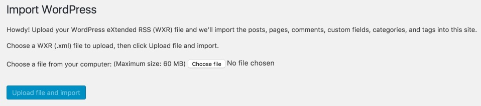 Import page for WordPress