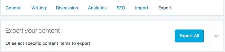 WordPress.com Dashboard Export Settings