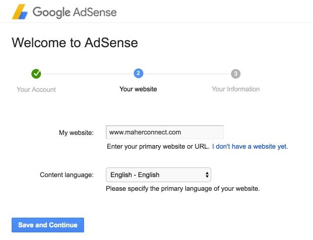 Add website details - Google adsense signup