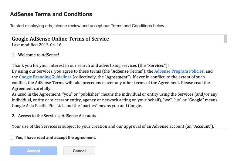 Adsense Terms and Conditions Window