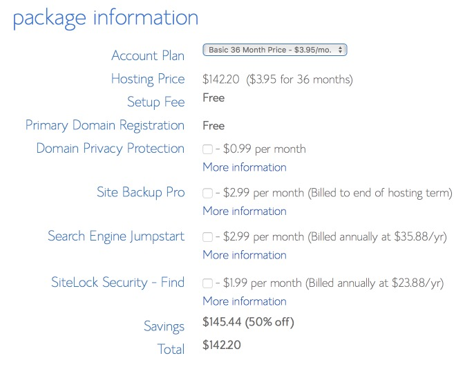 Bluehost Checkout Total