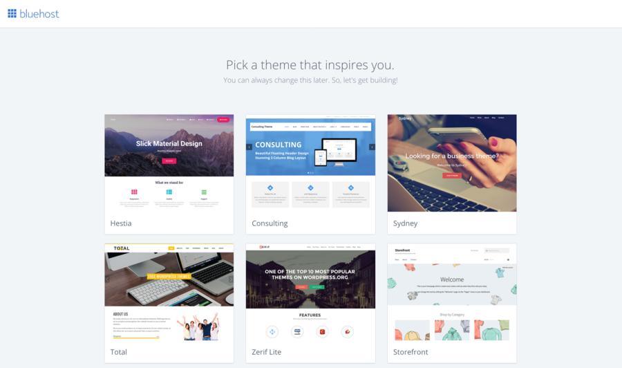 Bluehost - Pick a Theme Automatically