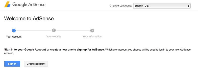 Google Adsense Signup Page