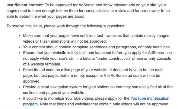 Insufficient content message - Adsense
