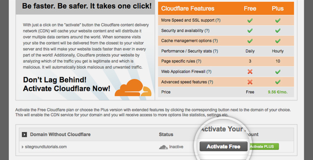 Activate CloudFlare on SiteGround