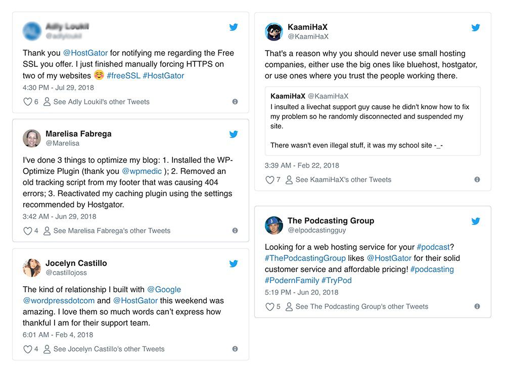 HostGator Support Tweets