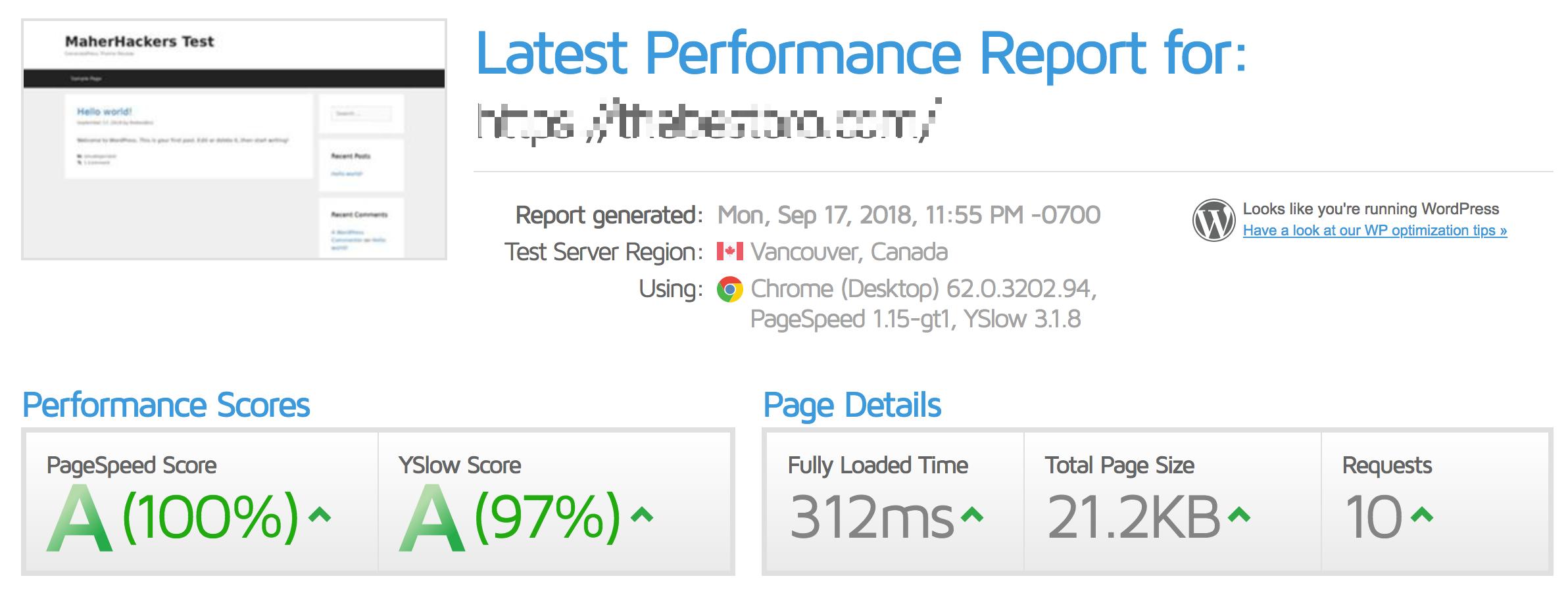 GeneratePress Clean Speed Test
