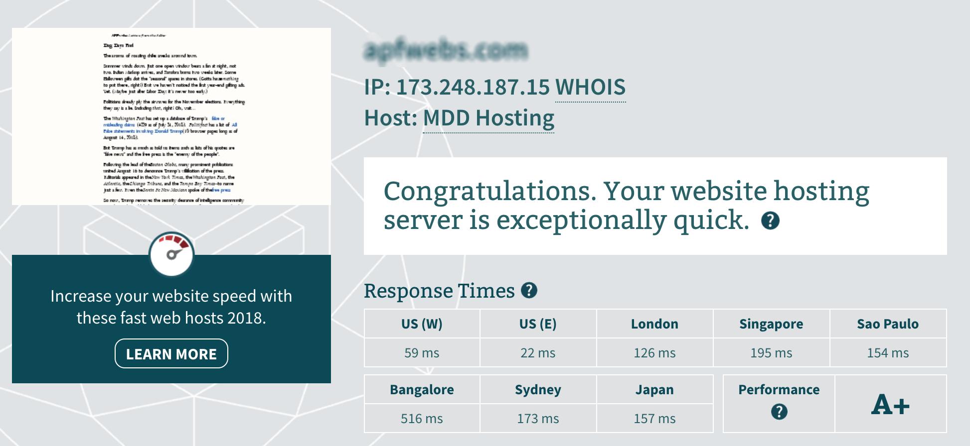 MDDHosting Server Response Time