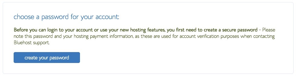 Create a password for Bluehost account