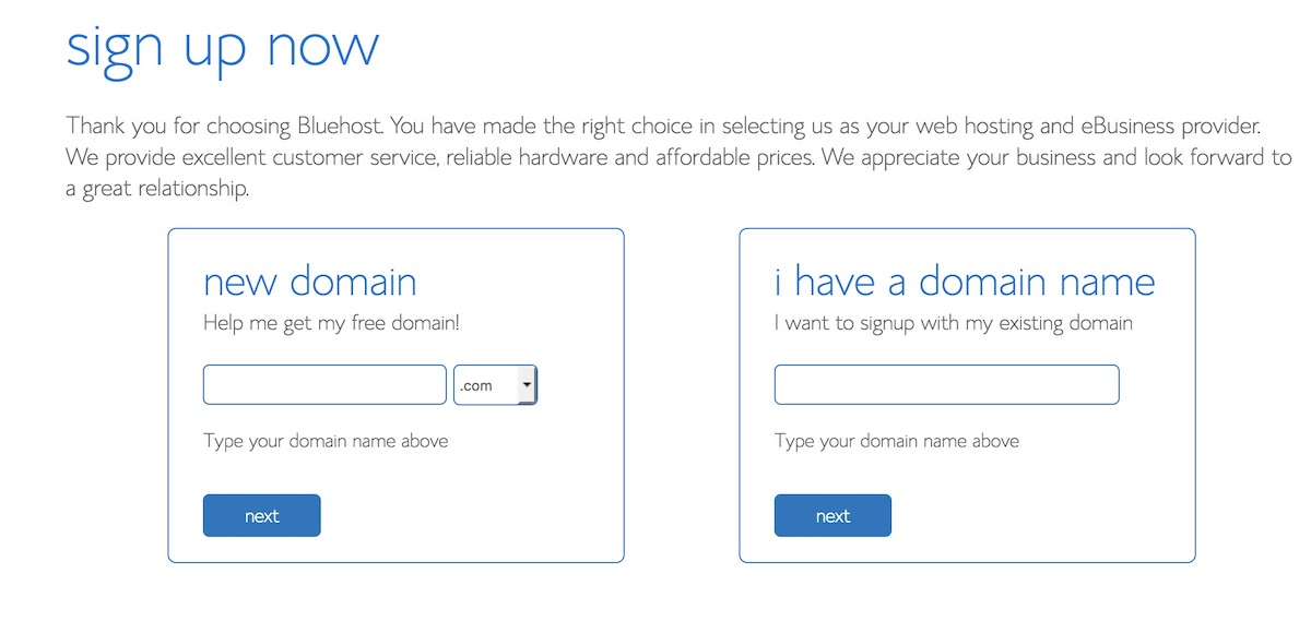 Choose domain - Bluehost