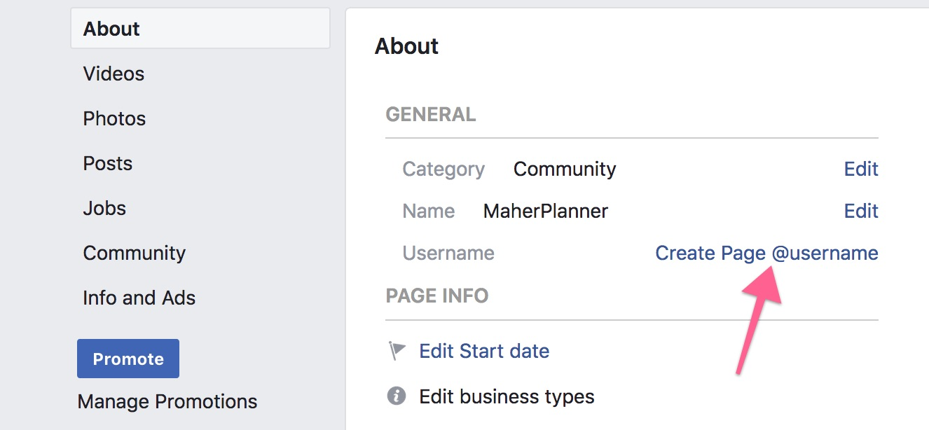 Create Page Username on Facebook