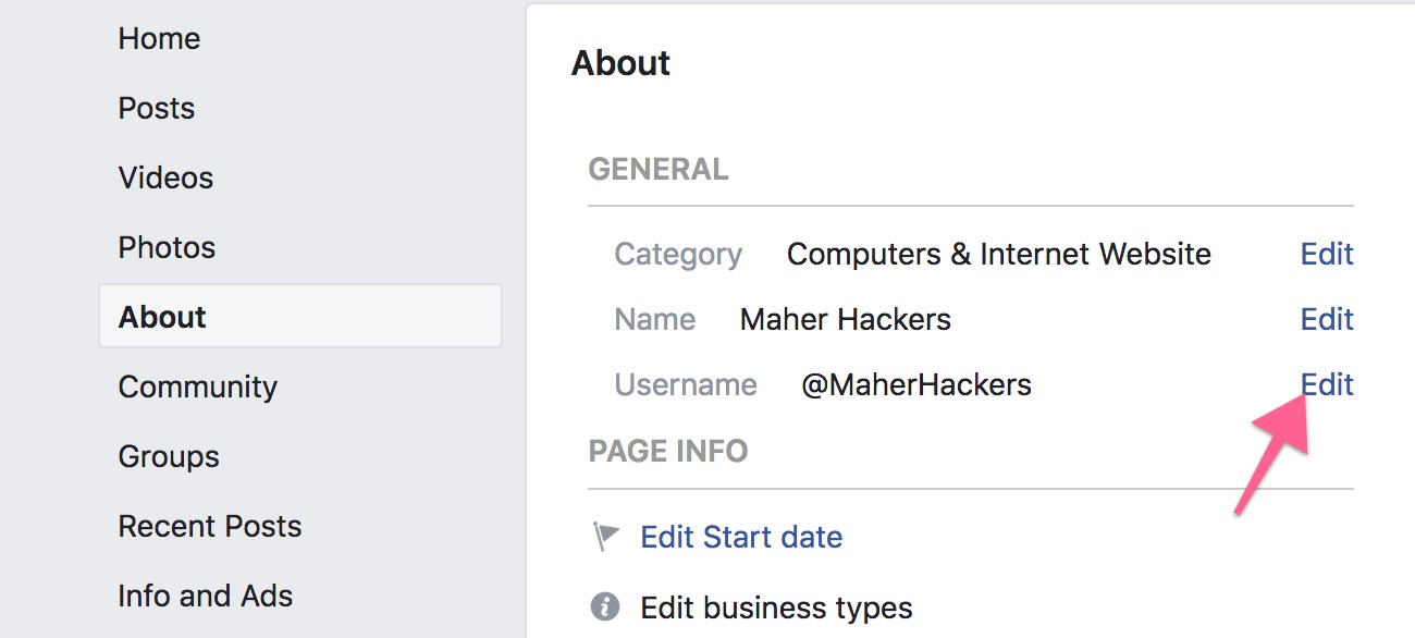 Edit Facebook Page Username