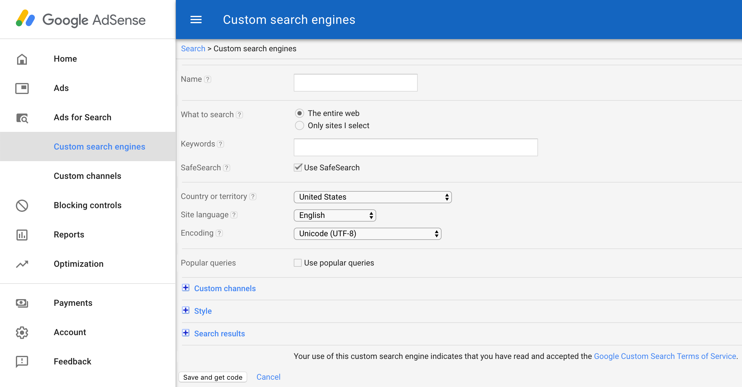 Add custom search engine