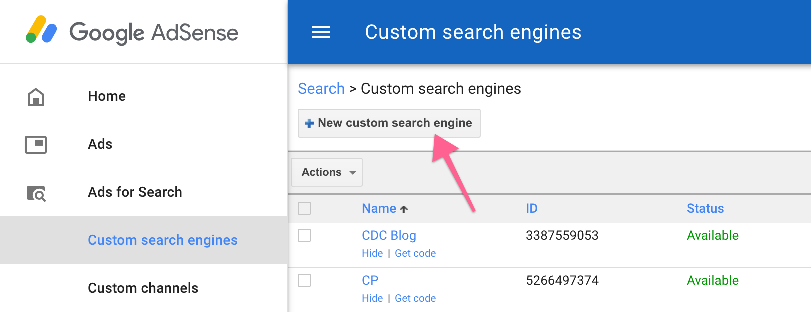 Create custom search engine adsense