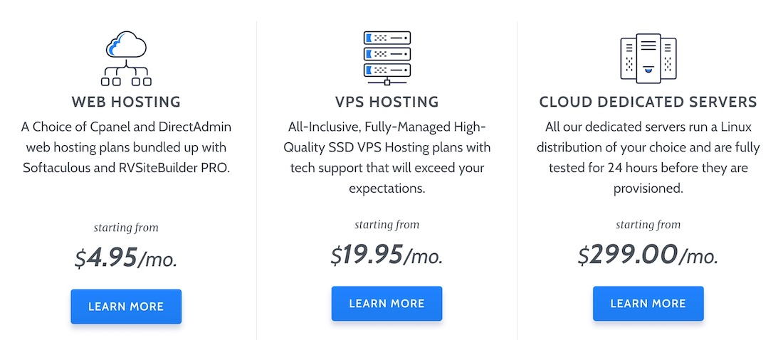 RoseHosting Hosting Options