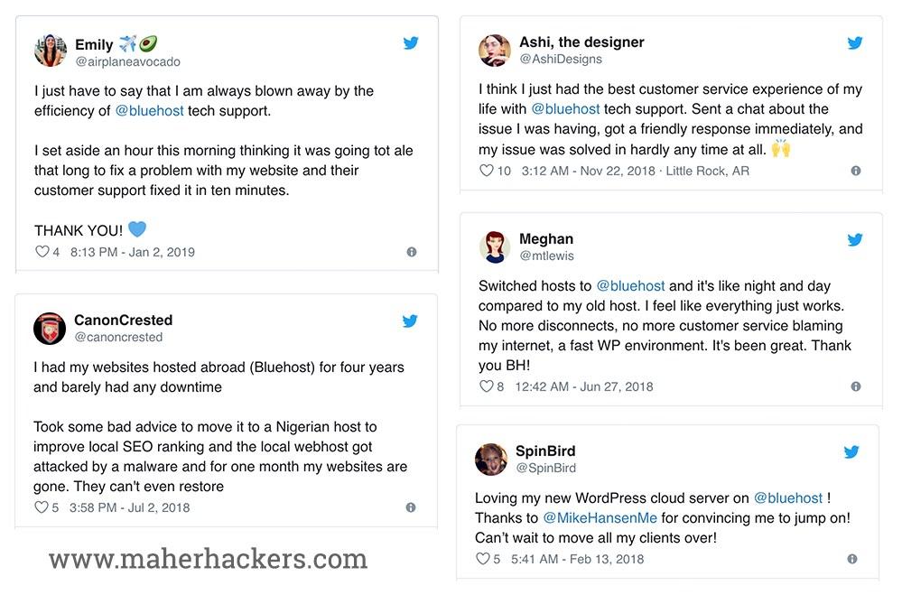 Bluehost reviews on Social Media