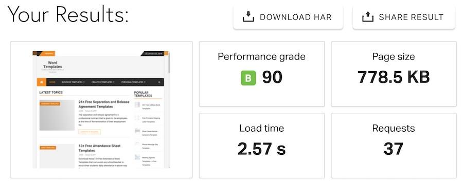 HostMonster website speed test