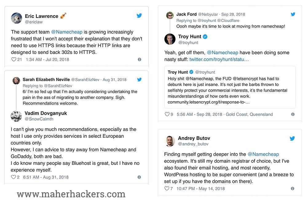 Namecheap reviews on Social Media