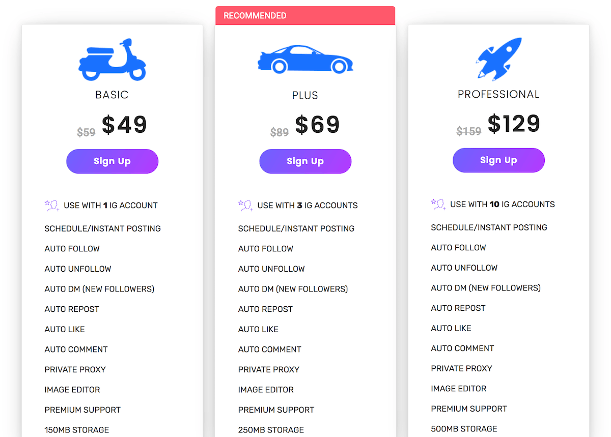 MaherGram Instagram Bot Pricing